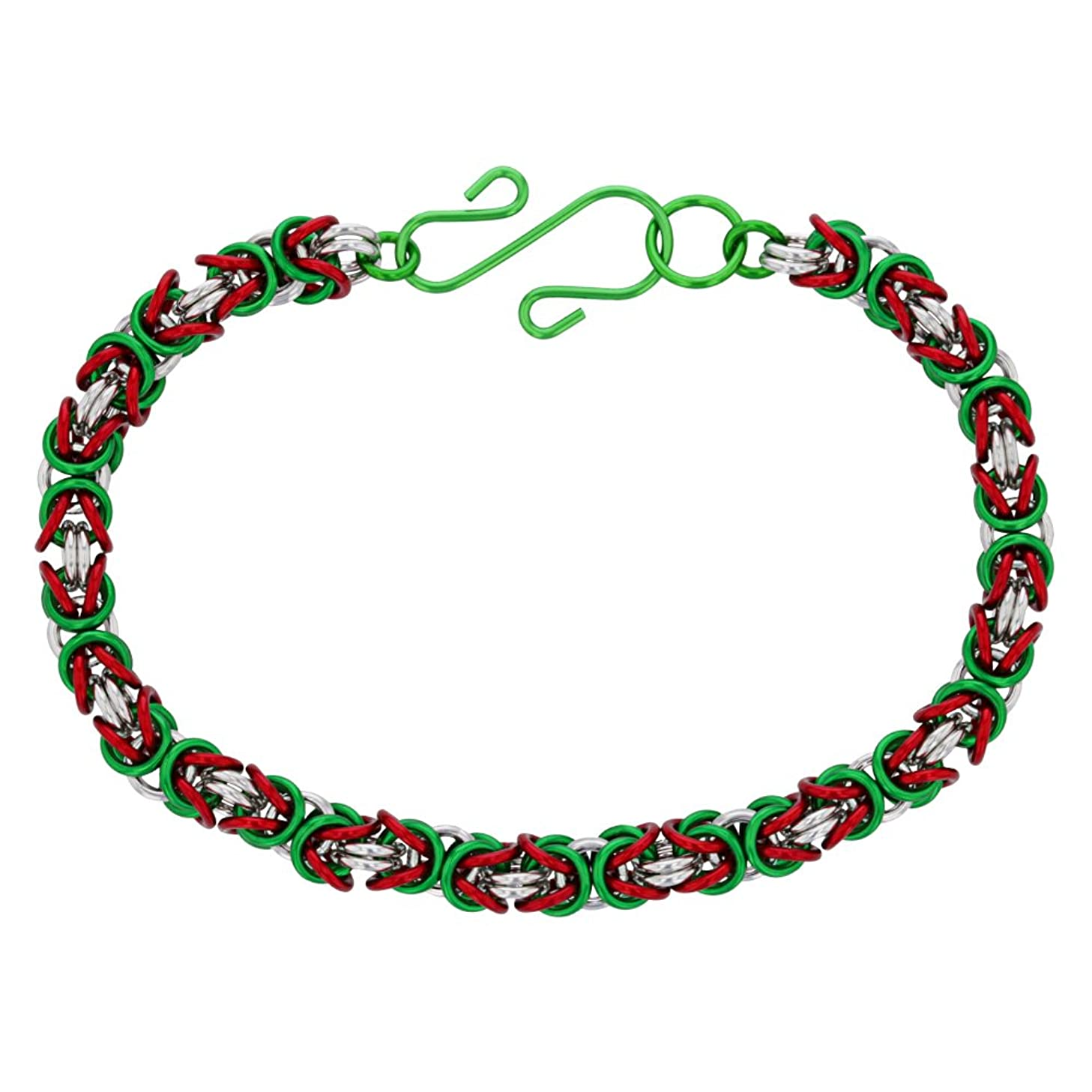 Weave Got Maille Mrs. Clause 3 Color Byzantine Chainmaille Bracelet Kit, 3 Piece