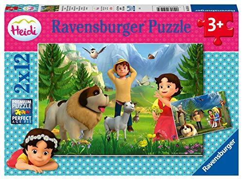 Ravensburger Kinderpuzzle - 05143 Gemeinsame Zeit in den Bergen - Heidi Puzzle für Kinder ab 3 Jahren, mit 2x12 Teilen