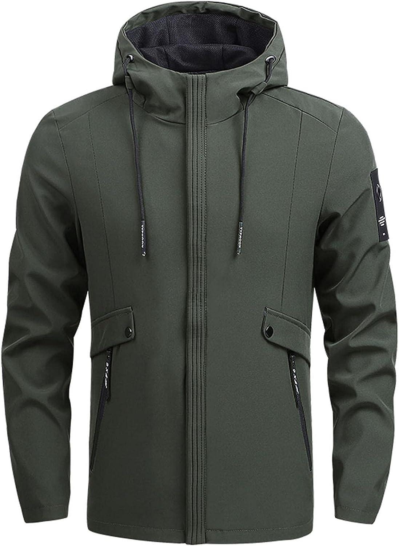 XUNFUN Mens Full Zip Hooded Waterproof Jacket Lightweight Packable Rain Jackets Outdoor Casual Windproof Sportswear