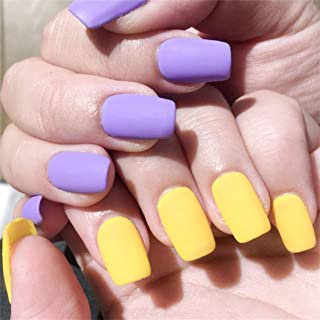 Fstrend Yellow 24Pcs False Nails Matte Full Cover Short Square Coffin Natural False Acrylic Purple Fake Nail for Women and Girls (Purple Yellow)