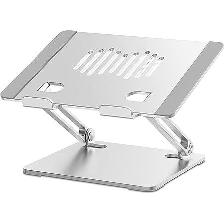 Hiyoo ノートパソコンスタンド PCスタンド タブレットスタンド 無段階高さ調整可能 高さ・角度を自由に調節可能 折りたたみ式 収納可能 持ち運び便利 滑り止め アルミ合金製 放熱性 10-17.3インチに対応 ノートPC/タブレットなどに対応スタンド 在宅勤務 リモート授業