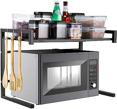 i BKGOOエキスパンドメタル電子レンジオーブンラックシェルフキッチン用品テーブルウェアストレージカーボンステンレスカウンター炊飯器スタンドには、2つの層と3つのフックブラック