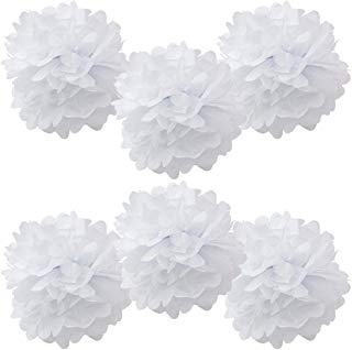 """WYZworks Set of 6 - White 12"""" - (6 Pack) Tissue Pom Poms Flower Party Decorations for Weddings, Birthday, Bridal, Baby Showers, Nursery, Décor"""