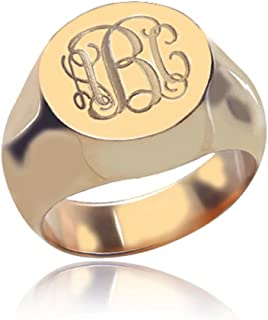 925 Sterling Silver Personalized Signet Initial Ring Custom Monogram Ring for Women