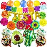 ZERODECO Mexicaine Décoration de Fête Fiesta d'anniversaire colorées Ballons avec Ventilateurs en Papier Pompons Cactus Ballons Bannière Mexicaine Guirlandes pour Cinco de Mayo Fête Fournitures