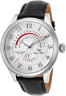 Lucien Piccard Men's The Capital Stainless Steel Japanese-Quartz Watch with Leather-Calfskin Strap, Black, 22 (Model: LP-40050-02S)