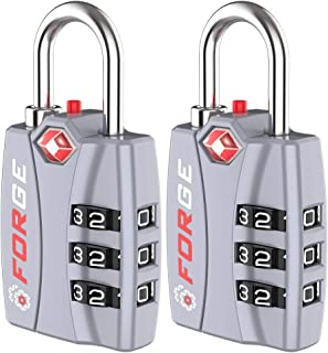 Forge TSA Luggage Combination Lock - Open Alert Indicator, Easy Read Dials, Alloy Body- Ideal for Travel, Lockers, Bags (s...
