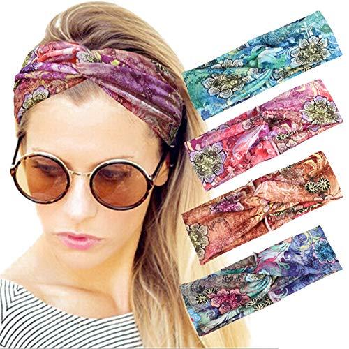 4 Pack Women Headband Boho Floal Style Criss Cross Head Wrap Hair Band Style7