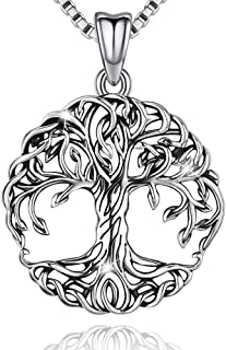 Tree of Life Necklace, Celtic Family Tree Pendant for Women, Sterling Silver Jewelry Gift - Oxidized Special Effect