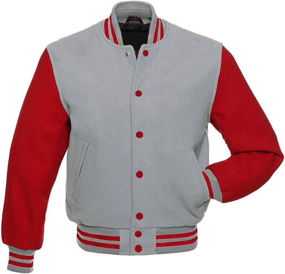 Men's All Wool Bomber Style Baseball Letterman Vintage Red Sleeves Varsity Jacket