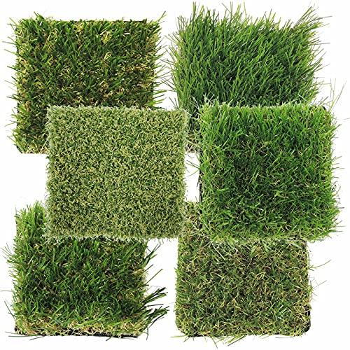 ガーデンガーデン 色までリアルなロール人工芝 カットサンプル 6種類タイプ別比較用セット しっかり/やわら...