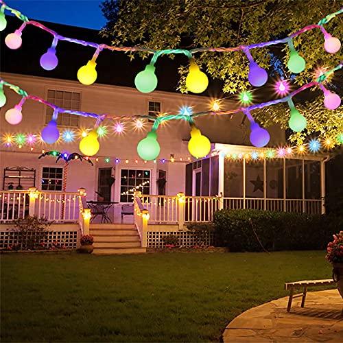 LED Lichterkette Außen, BIGHOUSE 10M 100 LEDs Mehrfarbig Lichterkette Aussen mit Stecker, 8 Modi, Merk Funktion, Wasserdichte IP44, Kugel Lichterkette für...