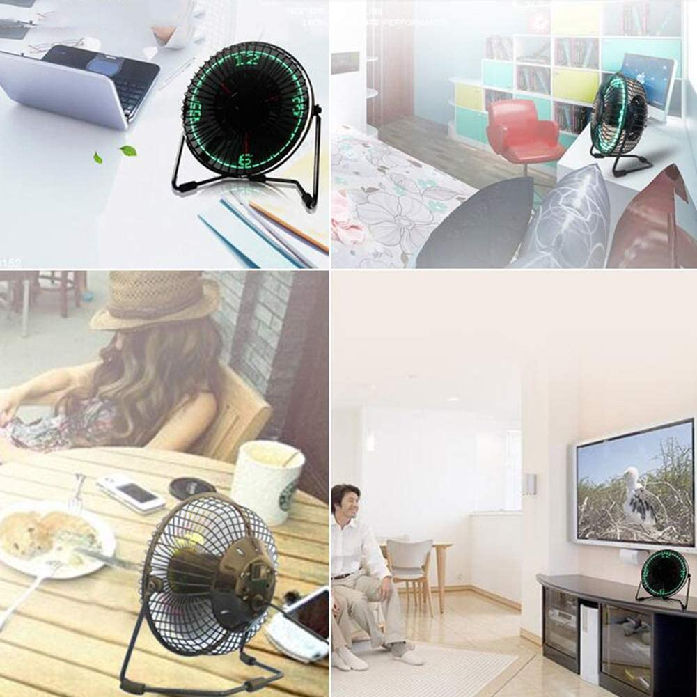 Small Desktop USB Plug-in Fan with Clock and Temperature Display LED Display Personal Cooling Silent Fan