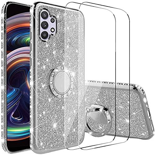 Vansdon Funda Compatible con Samsung Galaxy A32 5G+[ 2 Piezas Protectores de Pantalla in Cristal Templado], Estuche Protector de Diamantes Brillantes con Anillo de 360 Grados - Plateado