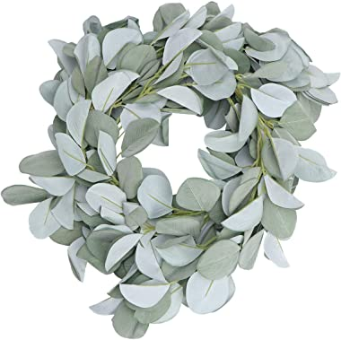 KESYOO Simulated Eucalyptus Leaves Wreath Silk Cloth Artificial Leaf Wreath Decorative Summer Wall Hanging Decor for Wedding Party Festival Holiday (Green)