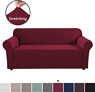 Stretch Slipcovers, Sofa Covers for 3 Cushion Couch, Sofa Covers for Living Room, Sofa Slipcover Furniture Protector 1 Piece Spandex Jacquard Fabric Small Checks (Large Size: Burgundy Red)