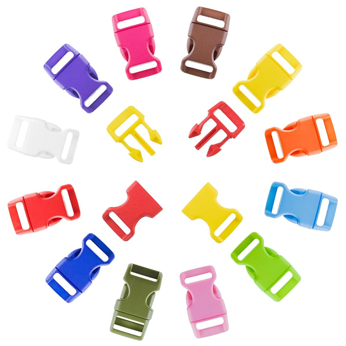 Craft County Colorful & Contoured 5/8 Inch Side Release Buckles - Pack Sizes Range From 5 to 1000 - Ideal for DIY Crafting Bracelets, Lanyards, Keychains, and More