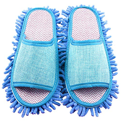 Miotlsy Faule Hausschuhe Hausschuhe Abwischen Multifunktionale Bodenreinigung Überschuh Mikrofaser Staub Haarreinigung Fuß Socken Mopp Kappe, abnehmbare Hausschuhe