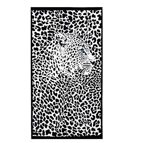 Strandtücher Groß Leopard Schwarz Bedruckt 100 x 180 cm Microfaser Badetuch für Erwachsene Damen Kinder Mädchen Ideal für Schwimmen Spa Reisen Yoga Sport Camping Sunbed Cover Bad oder Dusche zu Hause