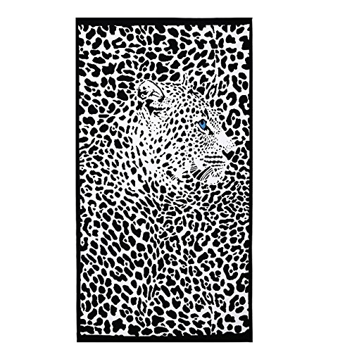 Toalla De Playa Grande Para Mujer Hombre XXL 100x180cm Microfibra Negra Leopardo...