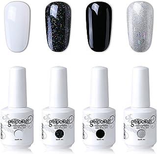 Elite99 UV LED Gel Nail Polish Varnish 15ML Soak off Nail Art Manicure Set 4 Colors with (20pcs Gel Remover Wraps) C174