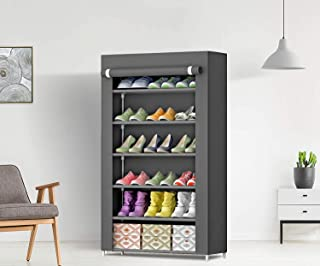 LACOSSI International Quality 6-Tiers Shoe Rack/Multipurpose Portable Folding Storage Rack Organizer Cabinet Tower with Du...