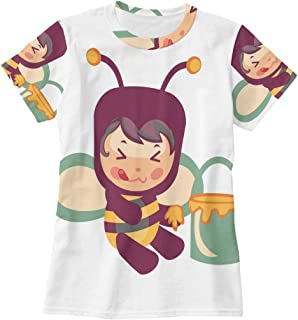 Honey Bee Eating from The Bucket T Shirts for Women Top Tee Crew Neck Casual T-Shirt