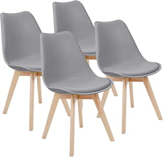 Furmax Mid Century Modern DSW Dining Chair Upholstered Side Chair with Beech Wood Legs and Soft Padded Shell Tulip Chair for Dining Room Living Room Bedroom Kitchen Set of 4 (Gray)