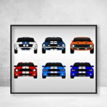 Shelby Mustang GT500 Generations Poster Print Wall Art of the History and Evolution of the Ford Shelby GT500 (multi color)