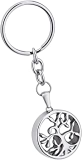 SG Stainless Steel Tree of Life Pendant Cremation Urn Keychain Memorial Keepsake Ashes Jewelry