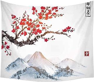 WSJIJY Tapestry Wall Hanging,Fuji Berg Sakura Sonnenuntergan