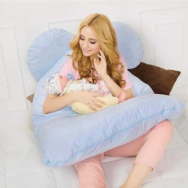 51 全身孕妇枕 u型孕妇枕睡觉用哺乳婴儿设计 W 可拆卸棉罩天蓝色 U 形