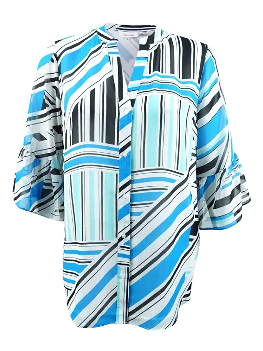 Calvin Klein Plus Womens Plus Size Button Front Print Flare Sleeve Blouse