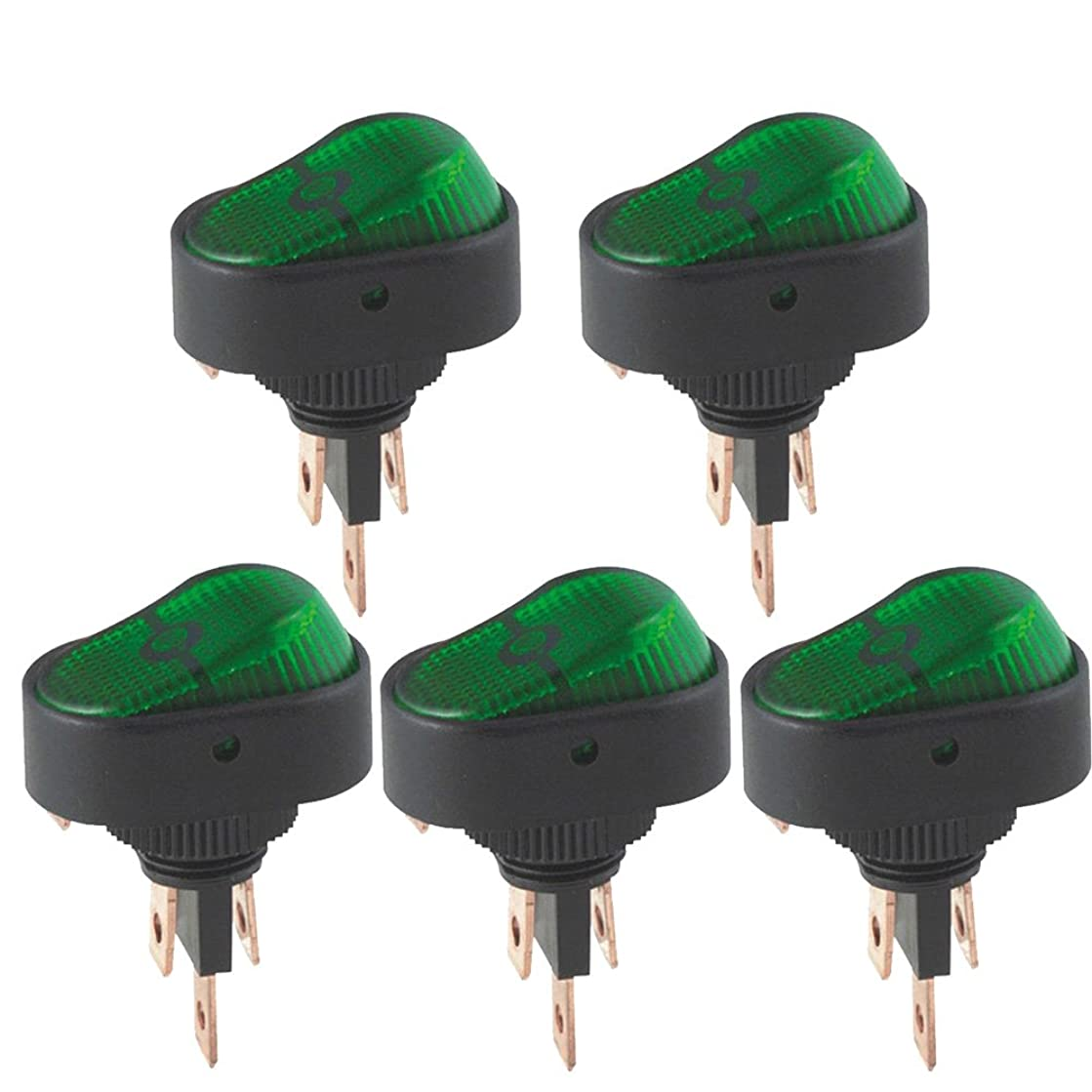 ESUPPORT 12V 30A Car Auto Heavy Duty Green LED Light Push Button Rocker Toggle Switch On Off Spst 3 Pin Control Pack of 5