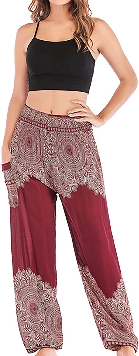 Harem Pants for Women Smocked Waist Vintage Print Pocket Casual Loose Fit Yoga Straight Tousers