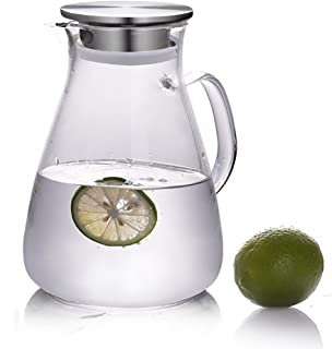 54 Ounces Glass Pitcher with Lid,Water Carafe Jug for Hot/Cold Water,Iced Tea and Juice Beverage