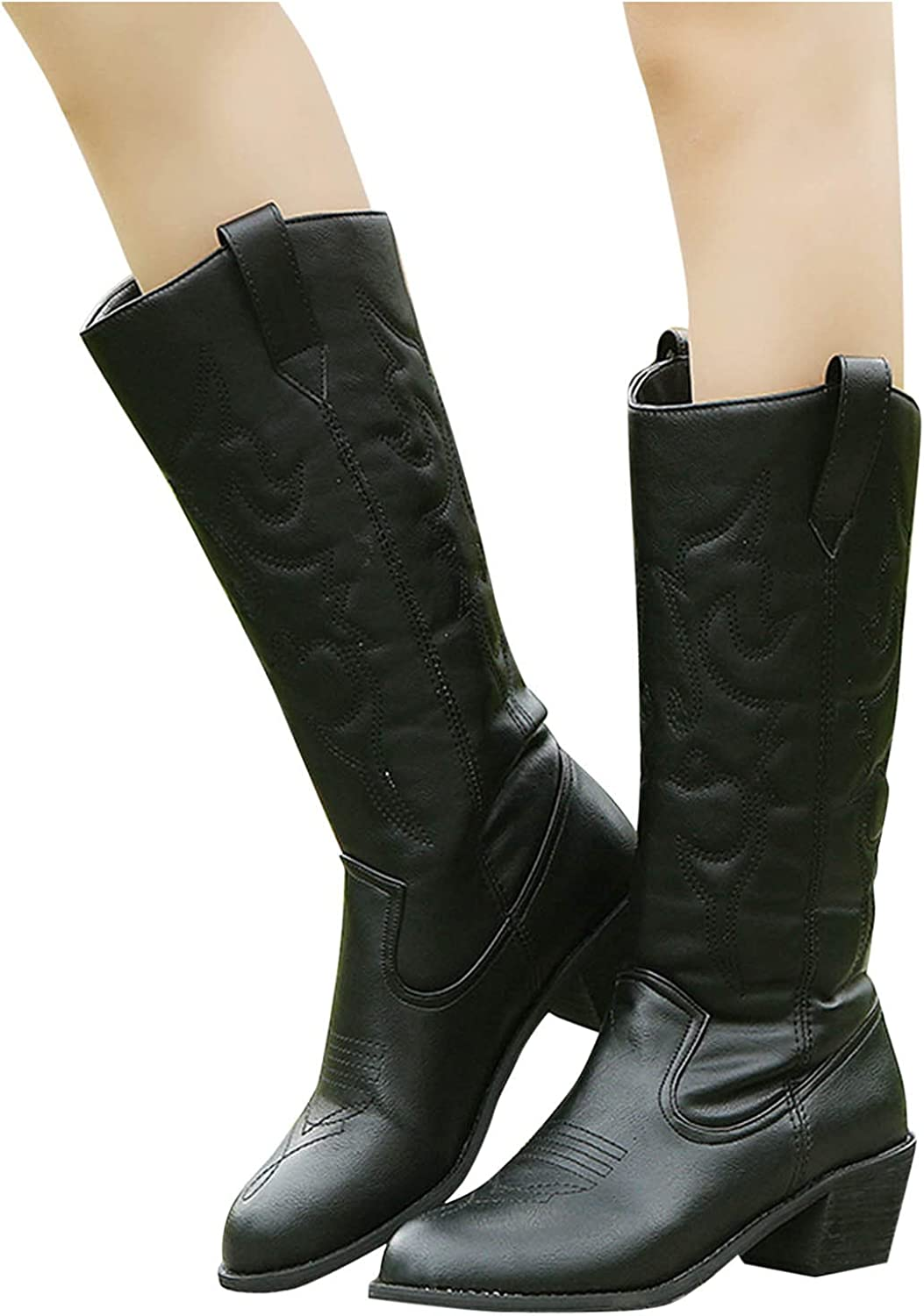 AgrinTol Womens Boots,Leather Mid-Tube Boots Rider Thick B
