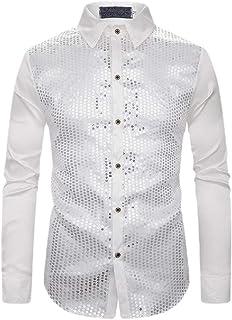 Qiangjinjiu Mens Casual Slim Fit Shirt Long Sleeve Oxford Button Down Dress Shirt