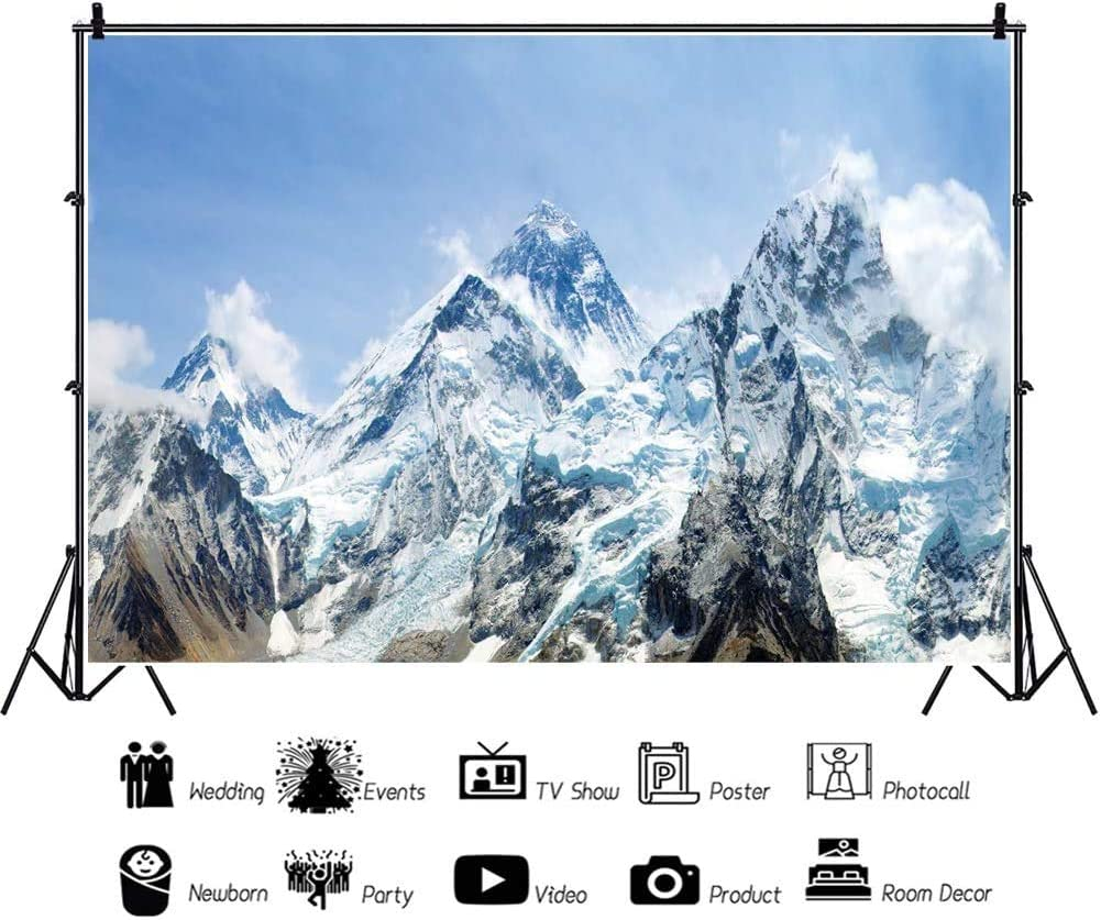 DORCEV 7x5ft Snow Mountain Scenery Backdrop Cold Winter Snowy Mountain Outdoor Adventure Blue Sky Snow-Covered Alpine Snow High Hill Peak Ski Nature Landscape Travel Photo Studio Props