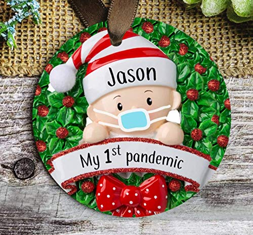 None-brands Baby Born During Covid Pandemic Ornament Baby's First Christmas Ornament Babys 1st Pandemic Baby with a face cover in a Wreath Ornament Custom 3' Ornament Ceramic