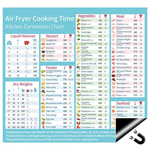 Air Fryer Magnetic Cooking Times Cheat Sheet Kitchen Conversion Chart Cookbook Cooker Accessories 11.8' x 11' Fridge Magnet Quick Reference Guide Kitchen Gift