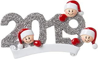 Personalized 2019 Family of 3 Christmas Tree Ornament - Mother Father Child Friend Santa Hat Glitter Grey Year Letters Dated Fun Holiday Tradition Foster Gift Forever - Free Customization (Three)