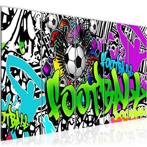 Bilder Fussball Graffiti Wandbild 150 x 60 cm Vlies - Leinwand Bild XXL Format Wandbilder Wohnzimmer Wohnung Deko Kunstdrucke Grün 5 Teilig - MADE IN GERMANY - Fertig zum Aufhängen 402656a