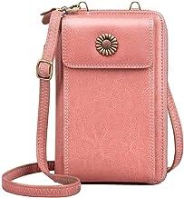 TUA lederen damesportemonnee RFID blokkerende mobiele telefoon crossbody portemonnee portemonnee met 15 kaartsleuven, dame...