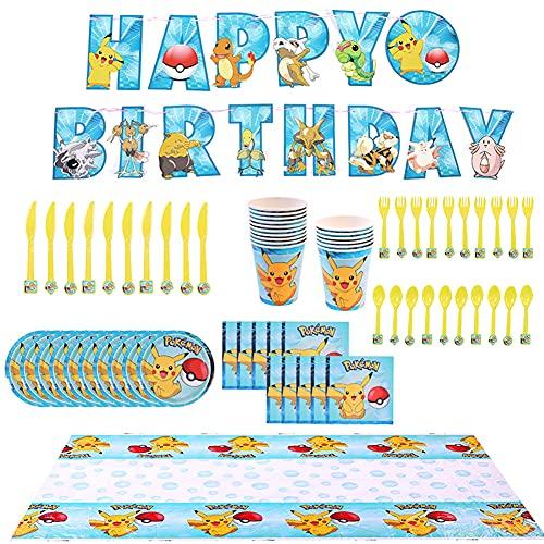 Pikachu Cartoon Party Set,Juego Vajilla Fiesta Cumpleaños Papel,72 Piezas Pikachu Infantil de Pokemon Team Cartoon Anime Theme Artículos para Fiesta de Cumpleaños
