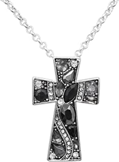 Gypsy Jewels Simple Christian Cross Rhinestone Bling Silver Tone Necklace