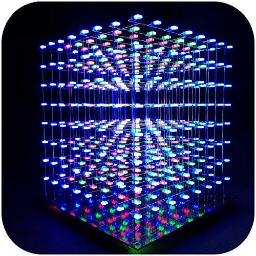 iCubeSmart 3D LED Cube Bausatz Diy Kit LED Licht Cube Diy Elektronik 8x8x8 Wuerfel Bausatz Für Elektronik-labor Kreative Geschenke Enthusiasten Der Elektronik Elektronische Kursgestaltung (3D8S-MULTI)