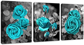 Canvas Wall Art Teal Roses Picture Blue Blossom Rose Canvas Artwork Prints Contemporary Wall Art for Living Room Bedroom Bathroom Kitchen Office Wall Decor Framed Ready to Hang 12