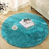 YJ.GWL Ultra Soft Round Fluffy Area Rugs for Girls Bedroom Anti-Slip Shaggy Nursery Rug Kids Room Carpets Cute Children Play Mat 4 Feet Blue