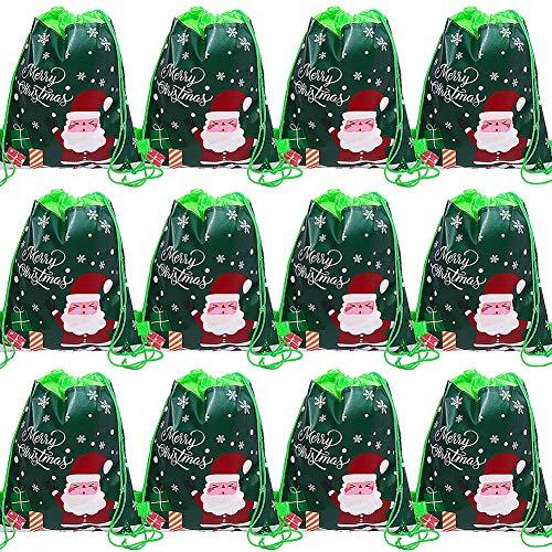FANDE Sacchetti Regalo di Natale, Sacchetto con Babbo Natale e Coulisse, Sacchetto Regalo per Dolcetti, Sacchetto di Babbo Natale Riutilizzabile/Sacchetto Regalo per Bambini